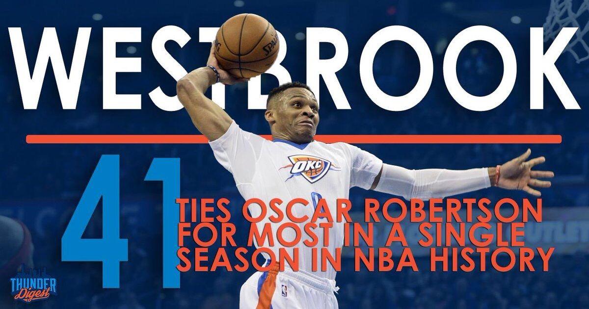 【威少复出】威少单赛季41次三双追平NBA历史纪录