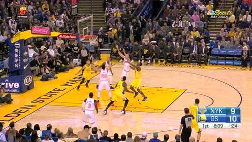 [得分]汤普森三分打铁 库里前场篮板撤回三分线外命中