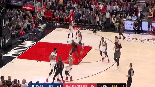 [球星]戴维斯vs开拓者集锦 27分7篮板失衡上篮高难度强势得分