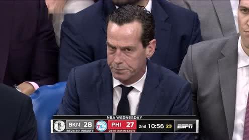 [原声回放]篮网vs费城第2节 欧文上篮开张