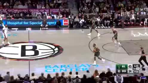 [原声回放]雄鹿vs篮网第2节 勒维尔快速反击一传一上